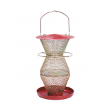 NO/NO® 3 Tier Red & Brass Wild Bird Feeder